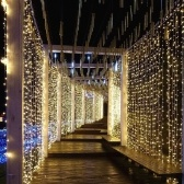 300pcs 3 * 3 mètres flexible LED rideau Icicle String Lights télécommande