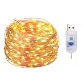 2pcs fil de cuivre chaîne lumière USB 10M 100 perles de lampe 8 modes décor à la maison vacances fée chaîne lumière (blanc chaud)