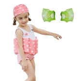 Girl One-Piece Float Badeanzug + Cap + Arm Ring Stilvolle süße Bademode mit abnehmbaren Auftrieb Perfekt für Kid lernen, Rose 90cm schwimmen
