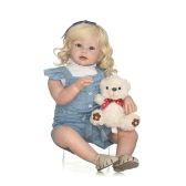 Silicon Reborn Toddler Doll Baby Doll Girl com peruca de cabelo dourada Curly Boneca 28inch 71cm Lifelike Cute Gifts Toy