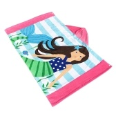 Kids Hooded Beach Towel Blanket Cotton Super Absorbent Cute Catoon Bath Swim Pool Towel Cape Cloak Boy Girl Brown hair mermaid