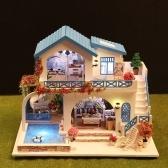 Miniatur Super Mini Größe Puppenhaus Gebäude Modell Kits Holzmöbel Spielzeug DIY Puppenhaus Blau und Weiß Stadt