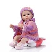 Reborn Baby Puppe Mädchen Silikon Baby Puppe Augen Öffnen Mit Kleidung Haar 16 zoll 40 cm Lebensechte Nette Geschenke Spielzeug Mädchen