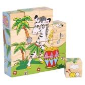 Quebra-cabeça de madeira 6 lados 3D Cube Cartoon Puzzle Building Block Early Educational Develoment Toys Presentes para crianças