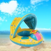 Inflatable Soft Baby Swimming Ring Pool Float Boat Rider with Detachable Sun Canopy Shade for Baby Toddler Kid Blue-Yellow