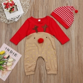 Cute Infant Newborn Baby Boy Girls Christmas Romper Cartoon Bodysuit Jumpsuit Kids Outfit Set and Hat