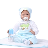 22inch 55cm Reborn Toddler Baby Doll Boy Sorridente Baby Doll Silicone Body Boneca Com Roupa Lifelike Cute Gifts Toy