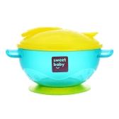 Stay Put Baby Karmienie Miska z pokrywą ssania Pokrywy Łyżka Niemowlę Training Bowl BPA free Blue