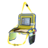 Kids Travel Tray with iPad Holder Mesh Storage Stand Desk For Car Seat Plane Yellow