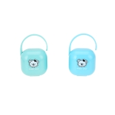 2Pcs Portable Baby Pacifier Snacks Case Container Nipple Shield Case Storage Box Holder Unisex Blue + Green