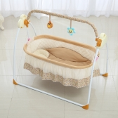 Electric Baby Bassinet Cradle Swing Rocking Music Remoter Control Sleeping Basket Bed Crib For Newborn Infant Camel