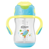 Haierbaby Brillante Baby Straw Sippy Cup Transition Drinking Bottle Learner Cup With Handles BPA Free 300ml Blue