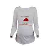 Maternity Shirt Long Sleeve Pregnancy Mom Tops Tee Christmas Santa White L