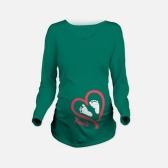 Mutterschaft Shirt Langarm Oansatz Footprint Lustige Schwangerschaft Mom Tops T Weiß L