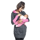 Womens Maternity Nursing Breastfeeding Hoodie Long Sleeves Sweatshirt Top Clothes Red S