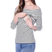 Женская беременная полосатая кормящая грудка Кормление грудью Лодка декольте Верхняя одежда Red S