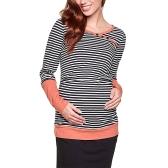 Женская беременная полосатая грудная кормящая рубашка с длинными рукавами Верхняя одежда