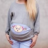 Maternité Sweatshirt À Manches Longues Drôle Imprimer Zipper Grossesse Maman Tops Sweat À Capuche Vert S