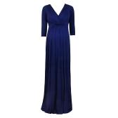 女性のマタニティドレスローブはVベルトネック3/4袖の看護妊娠の服をベルトブルーS