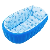 Inflatable Baby Bath Tub Swimming Pool Anti-Slip Safety with Central Cushion Seat Blue