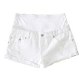 Pantalones cortos de materialidad de las mujeres pantalones vaqueros del verano cintura alta extensor de vientre pantalones cortos de mezclilla ropa de embarazo blanco M