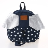 Kids School Bags Backpack Anti-lost Harness Canvas Cute Children Kindergarten Schoolbags With Wings Dark Blue Star