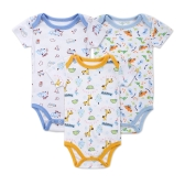 3pcs Baby Rompers Set Bodysuit 100% Cotton Short Sleeve Unisex Baby Clothing 0-3M