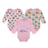 3pcs mamelucos del bebé ropa del conjunto del mono 100% algodón de manga larga para bebé recién nacido niña 0-3 M