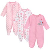 3pcs Baby Coveralls Rompers Set 100% Cotton Jumpsuit Footsies Clothing For Newborn Baby Infant Girl 9-12M