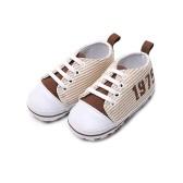 Infant Toddler Bébé Casual Chaussures Coton Stripe Semelle Souple Non-Slip Sneaker Prewalker Rose 4 M