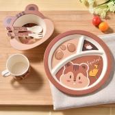 5шт Детская посуда набор Бамбук волокна посуда питание питающей пластины + чаша + чашка + ложка + вилка розовый сова