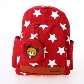 Kinder Schultaschen Canvas Cute Star Muster Reise Rucksack Kinder Kindergarten Schulranzen Mit Geldbörse Rot