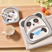5Pcs Kids Tableware Set Bamboo Fiber Dinnerware Meal Feeding Plate+Bowl+Cup +Spoon+Fork Pink Owl
