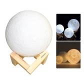 Aibecy 8cm / 3.15 Inch Lua Lâmpada USB Recarregável LED 3D Impresso PLA Night Light Início Luzes decorativas Touch Control Brilho Intenso Dimmable Quente Amarelo e Fresco Branco 3000K-6000K