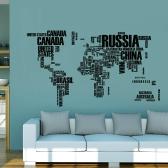 Etiqueta de parede Etiqueta de mapa do mundo das palavras pretas Etiqueta de arte mural mural de PVC removível para sala de estar / corredor / escola / escritório