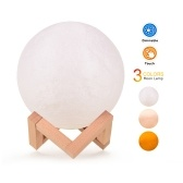 3 Colors Creative Moon Lamp 3D Printed Lunar Lamp LED Night Light 8cm/ 3.1in with Stand for Children Girls Birthday Thanksgiving Christmas Gifts