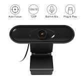 USB Computer Webcam 720P Web Camera Built-in Noise Reduction Microphone with Clip-on Base for PC Laptop Desktop Video Calling Recording Home Office Conferencing Live Streaming Online Teaching