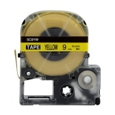 PUTY 5 Rolls Self-Adhesive Label Tape Replacement Label Maker Tape Black on Yellow 0.35 Inch(9mm)x26.2 Feet(8m) Waterproof and Oil-Proof Compatible with KINGJIM SR230CH/SR230C/SR530C/SR550C/SR3900C Label Printer