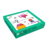 Деревянный блок-головоломка с магнитной геометрией для детей младшего возраста с доской с сухим стиранием Карточки с рисунком для мальчиков и девочек от 3 лет