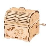 Puzzle 3D in legno Carillon a manovella Scatola del tesoro musicale in legno Fai da te Assemblaggio fai da te Kit modello artigianale Decorazione della casa Set di edifici educativi Regalo per studenti Ragazzi Ragazze Adolescenti Adulti da costruire