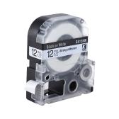 Black on White Label Tape 12mm * 8m Compatible for Kingjim Epson Label Printer LW400/LW600/SR230C/SR230CH/SR530C/SR550C