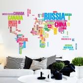 Etiqueta de parede Etiqueta de mapa mundial de palavras coloridas Etiqueta de arte mural mural de PVC removível para sala de estar / corredor / escola / escritório