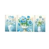 Kit de pintura de diamante 5D DIY para adultos y niños Tríptico Patrón de jarrón de flores Diamante completo