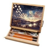 Portable Desk Easel Box Folding Table Wooden Easel Adjustable Positions