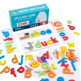 Wood Spelling Words Game Letter Recognition Card Montessori Puzzle STEM Early Educational Toy for Age 3+ Boys & Girls