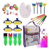 25PCS Pennelli per bambini Pennelli per pittura lavabili Set di pennelli per pittura a spugna per bambini piccoli Giocattoli per l