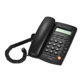 Desktop Corded Telephone Phone with LCD Display Caller ID Volume Adjustable Calculator Alarm Clock for House Home Call Center Office Company Hotel