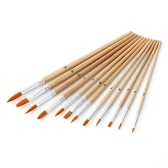 12pcs Paint Brushes Set with Flat and Round Pointed Tips Nylon Hair Wooden Handle Professional Drawing Paintbrush