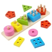 Wooden Geometric Column Toy Shape Color Sorting Blocks Educational Learning Tool