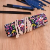 36 Holes 100% Cotton Folk Style Pen Shade Pencil Painting Brush Bag Case Keeper Storage Roll Pouch Sketch Art School Supplies Creative Drawing Gift